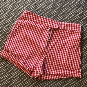 Forever 21 Red Gingham High Wasted Shorts, Size M